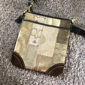 Authentic brown and gold Coach crossbody bag